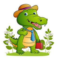 Happy employee crocodile is holding vector