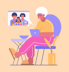 Happy grandma with laptop has communication vector