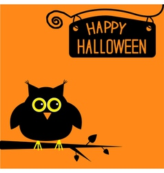 Happy Halloween cute owl card vector