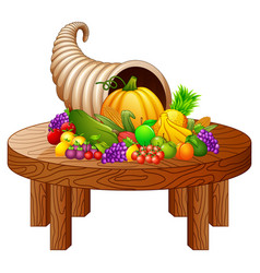 Horn of plenty with vegetables and fruits on round vector