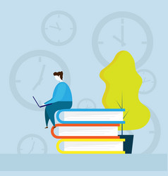 human working with times vector image