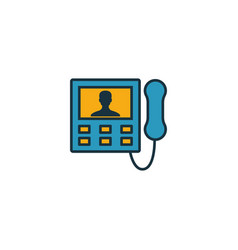 Intercom icon set four elements in different vector