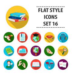 Interpreter and translator set icons in flat style vector