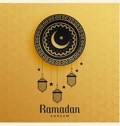 Islamic style golden ramadan kareem greeting vector