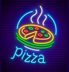 italian pizza neon sign vector image