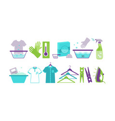 laundry room icons set iron basin hangers vector image