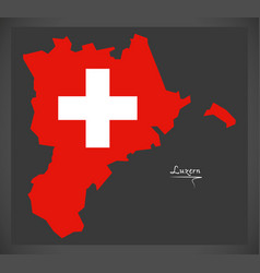 luzern map of switzerland with swiss national flag vector image