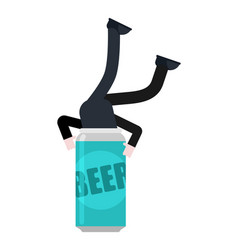 man dives into beer iron can beer alcoholic vector image
