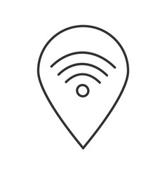 Map pinpoint with wifi signal inside linear icon vector