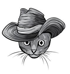 monochromatic sketch a stylized kitten s vector image