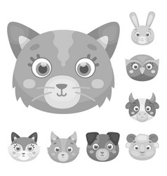 Muzzles of animals monochrome icons in set vector
