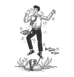 Optimistic suicide drowned man sketch vector