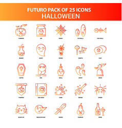 Orange futuro 25 halloween icon set vector