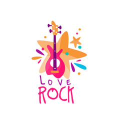 original music logo template with electric guitar vector image