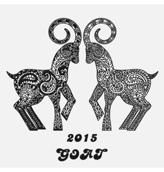 Patterned two goats - a symbol of new 2015 Black vector