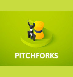 Pitchforks isometric icon isolated on color vector