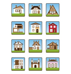 Private houses and homes icons set vector image