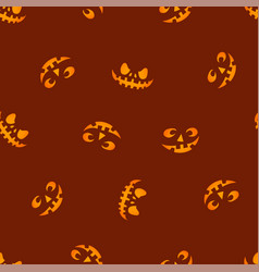 pumpkin faces glowing on red background seamless vector image