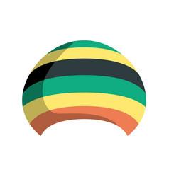 Rastafarian hat isolated jamaica cap on white vector