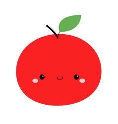 Red apple icon cute cartoon kawaii smiling baby vector