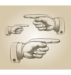 Retro pointing hand vector