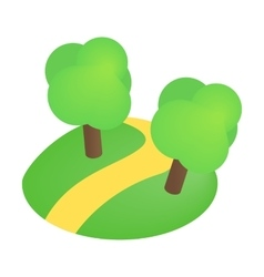 Road with trees 3d isometric icon vector