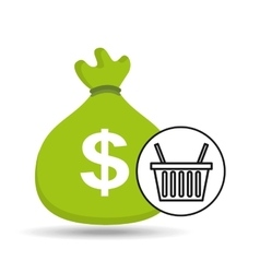 Sack money with basket shopping online vector