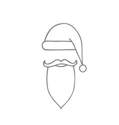santa hat moustache and beard christmas elements vector image