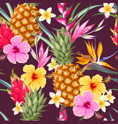 seamless pattern with pineapple fruits vector image