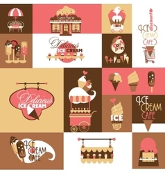 Set for Ice Cream Local Business with Logotypes vector image