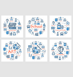 set of blue school banners with line icons vector image