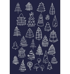 Set of Christmas white trees isolated on dark vector image