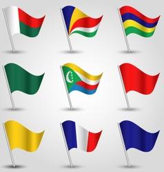 set of flags east africa indian ocean islands vector image