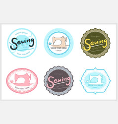 Set of retro garment sewing machine identity vector
