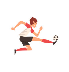 soccer player kicking ball football player vector image