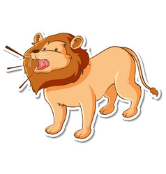 sticker design with lion roar isolated vector image