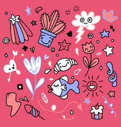 Sticker icons hand drawn doodle vector