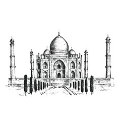 Taj mahal an ancient palace in india landmark or vector