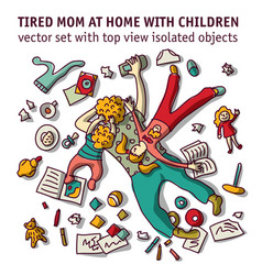 Tired mom home with children isolated objects set vector