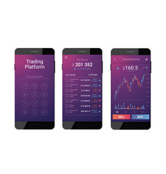 Trading mobile interface vector