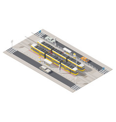 tram station located in the middle of the street vector image vector image