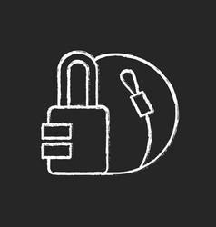 travel padlock chalk white icon on black vector image