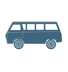 Van car silhouette isolated on white vector