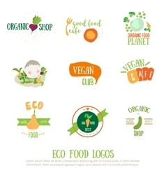 Vegan cafe logo elements on white background vector