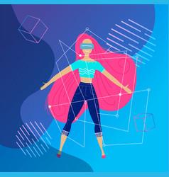 virtual reality concept enthusiastic young woman vector image