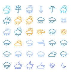 weather forecast signs color thin line icon set vector image