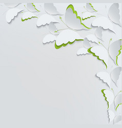 white butterflies on a white background vector image