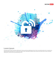 Wifi locked signs - watercolor background vector