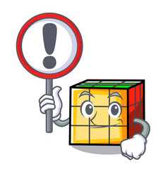 With sign rubik cube character cartoon vector