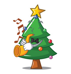 With trumpet christmas tree character cartoon vector
